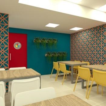 Restaurante Bossa, com ambientação contemporânea